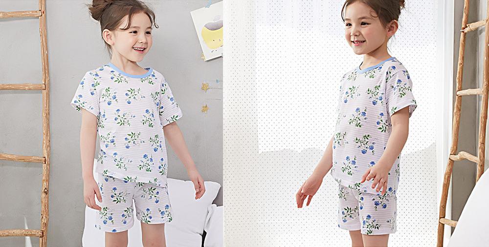Olomimi Blue Flower Kid Pyjamas