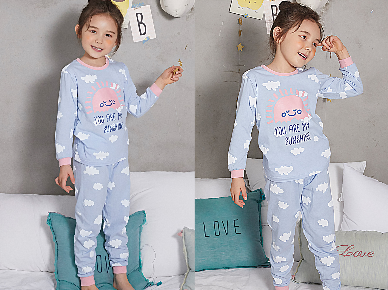 Olomimi My sunshine Kid Pyjamas - a girl wearing my sunshine purple kid pyjamas set standing and smiling